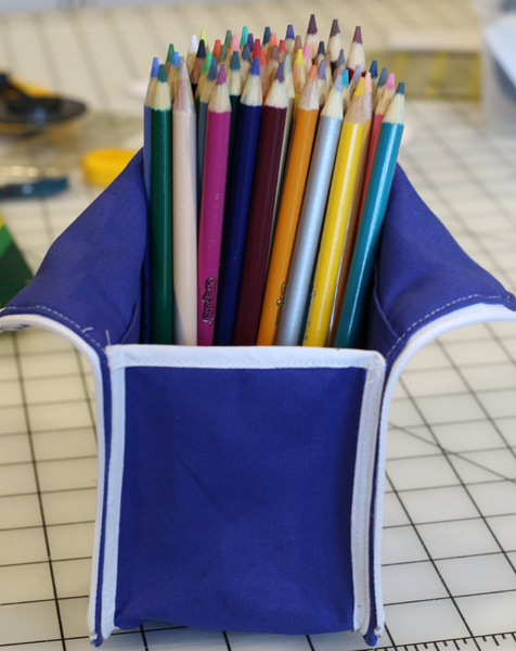 completed ikatbag zippered marker pouch with colored pencils