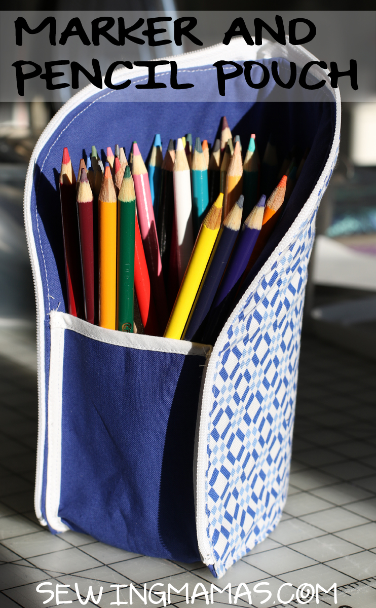 sewing tutorial from ikatbag for zippered school supply pouch with colored pencils